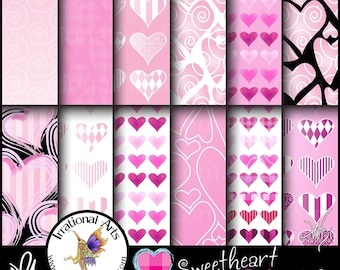 Sweetheart Pinks set 2 - Digital Scrapbooking Papers - 12 jpg files 300dpi Valentines Day Hearts Galore {Instant Download}