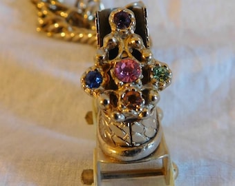 Roller skate Charm Pendant Mother Of Pearl Wheels Colored Stone Rhinestone Gold Rollerskate Vintage Jewelry