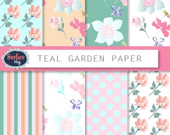 Floral Digital paper TEAL GARDEN Flower digital paper Floral background Floral blog background Digital Graphics Scrapbook paper Pattern