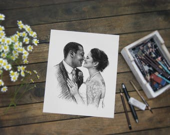 paper gifts Romantic First Paper Anniversary Gift custom drawing romantic gift