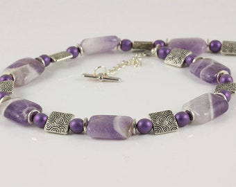 Banded Amethyst Necklace, Purple Necklace, Lilac Necklace, Mixed Purple Necklace, Amethyst Necklace