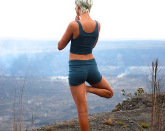 Women's Yoga Shorts - Spruce Green Jersey Eco Friendly - Organic Clothing - Several Colors Available