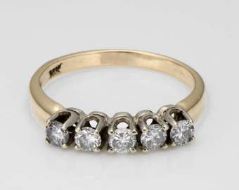 14K Yellow Gold Estate 0.50ct Diamond Statement Ring Size 5.75 comes with Presentation Box R159