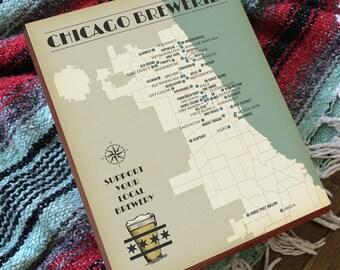 Chicago Brewery Map - Chicago Breweries - Chicago Beer Map - Chicago Beer Poster - Wood Block Art Print
