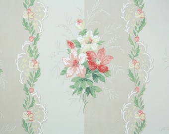1940s Vintage Wallpaper by the Yard - Floral Wallpaper with Pink and Red Flowers on Gray Stripes