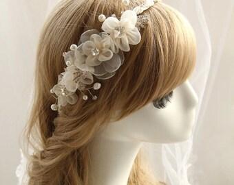 Crystal pearl flower headband, wedding hair hoop Hair,bride hair accessories