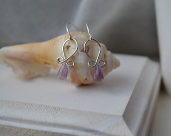 Petite Pink Amethyst and Sterling Silver  Earrings Handmade Wire Wrapped