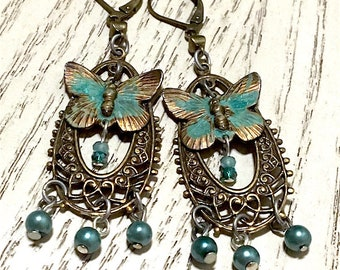Butterfly and Pearl Filigree Dangle Earrings, Victorian Jewelry, Boho Jewelry