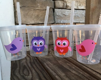 Valentine Owl and Birdie Party Cups; Reusable 16oz party cups; cups w/lids & straws