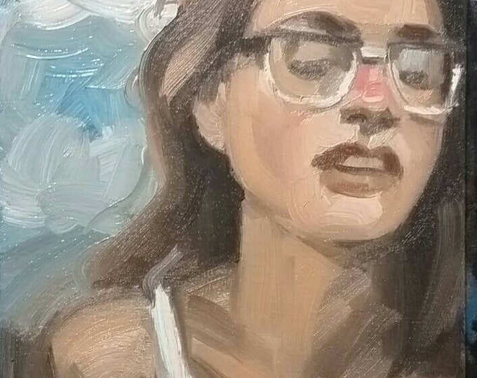 Beautiful Woman in her 20s Wearing Nerdy Glasses and an Ecstatic Expression During Summer, oil on canvas panel 9x12 inches by Kenney Mencher