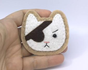 Pirate Cat Hand Sewn Wool Felt Pin