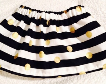 Baby Skirt Black & white Stripes with gold dots, baby Gift, toddler Skirt