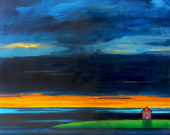 Ocean Landscape, dramatic Sunset, Nova Scotia, orange, print, Shelagh Duffett