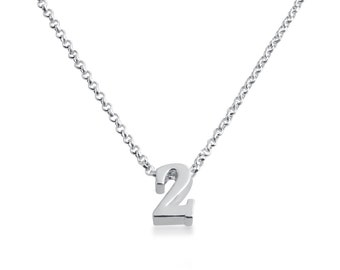 Number Two ( 2 ) Symbol Serif Font Charm Pendant Necklace #925 Sterling Silver #Azaggi N0597S_2
