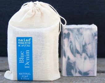 NEW- Blue Denim Shea Butter Soap - All Natural Handmade Soap - Vegan and Cruelty Free - Sustainable Palm - Great for Men