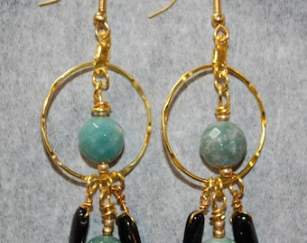 Tourmaline and Jet Earrings Gold Wires Statement Earrings Handmade