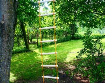 wooden rope ladder, 3.3-33 feet (1-10m) long 0.9 feet (27 cm) wide, tree house ladder, garden accessory, long rope ladder, tree swing ladder