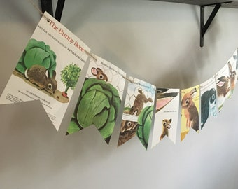 THE BUNNY BOOK page banner bunting garland decoration Vintage book