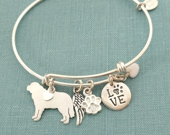 St Bernard Dog Adjustable Bangle Bracelet, 925 Sterling Silver Personalize Pendant Breed Charm Rescue pet memorial jewelry