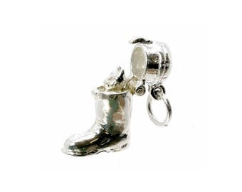 Sterling Silver Opening Puss In Boot Charm For Bracelets