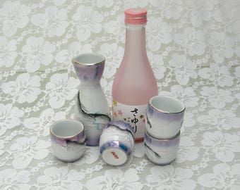 Japanese Dragonware Sake Pourer & 4 Cups, exquisite white luster porcelain, appliquéd hand-painted dragon