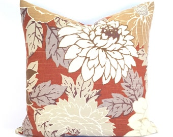 Blowsy Oversized Floral Pillow Cover in Warm Cinnamon, Caramel, Brown & White