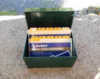Vintage Green Metal File Box, Tin Recipe Box, Industrial Utility Storage Box, Address Phone Number Organizer, Index Card Holder Avery Aigner
