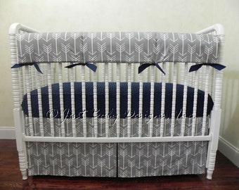 Gray Arrow Baby Bedding Set - Boy Baby Bedding, Tribal Baby Bedding, Arrow Crib Bedding, Navy Baby Bedding, Crib Rail Cover, 1 - 4 pieces