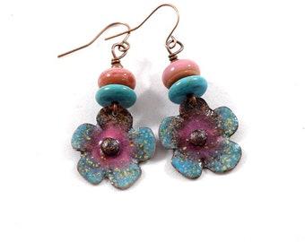 Turquoise Flower Enameled Earrings, Turquoise and Red, Boho  Earrings, Flower Earrings, Industrial Earrings, Small Earrings, E033