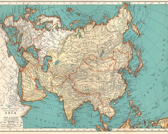 Asia Map Etsy