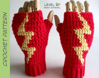 Lightning mitts CROCHET PATTERN || 3 sizes || Instant Download