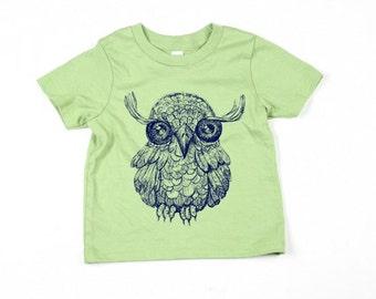 Kids Green Owl Tshirt  - Eco-Friendly - Organic - Advocado -Toddler - Small, Medium, Large - Boy - Girl