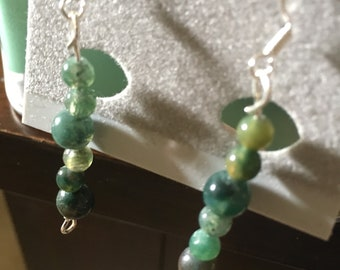 Mix greens stacking earrings