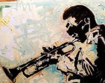 Miles Davis Original Painting on Canvas by Matt Pecson MADE TO ORDER Mid Century Modern Art Jazz Art Living Room Decor Husband Gift for Him