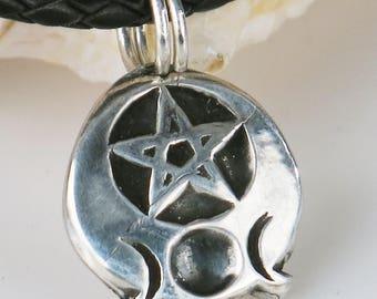Triple Goddess Crescent Moon Pentacle Fine Silver Pendant Gift - Handmade Triple Goddess Pentacle Symbolic Fine Silver Pendant Necklace Gift