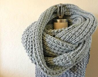 Oversized Long Chunky Knit Infinity Scarf Grey