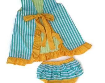 The Ruffle Bum and Lucy - Ruffled diaper cover and open back dress with ruffles. PDF sewing pattern newborn to 24 months