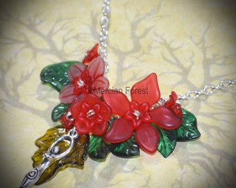 Summer Flowers Goddess Necklace - Red - Pagan Jewellery, Wicca, Solstice