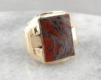 Mercury's Stone; Bold Men's Hematite and Jasper Statement Ring  7CWKD5-P