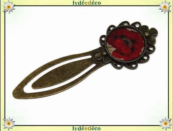 Bookmark retro beige black red poppy flower in resin and brass 20mm
