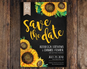 Fall Sunflower and Chalkboard 5x7 Save the Date Invitation Print at Home DIY Version