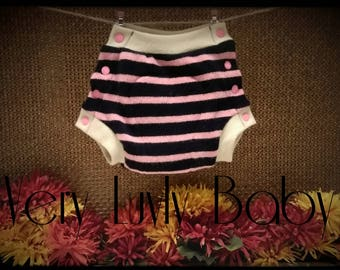 "Wool Diaper Cover Upcycled Semi-Custom Snap Soaker ""Pink/Navy Stripes"" Size SMALL"