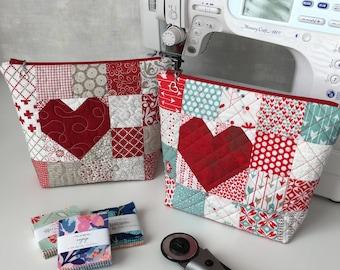 Be Mine Heart Zipper Pouch - PDF Sewing Pattern