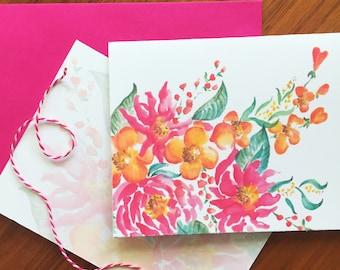 Floribunda! Watercolor Pack of 6 Blank Cards