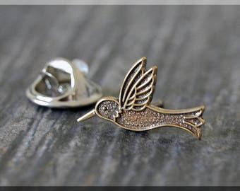 Brass Hummingbird Tie Tac, Bird Lapel Pin, Hummingbird Brooch, Gift for Him, Gift Under 10 Dollars, Tie Tack, Bird Gift, Nature Lapel Pin