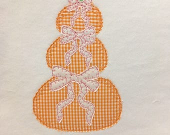 pumpkins with bows stack blanket applique vintage style