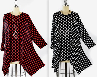 Adorable and Comfortable, Polka Dot Tunic, Lagenlook Tunic, Fishtail bottom tunic, Plus size Tunic,Polka Dot Top. Fits XL/1XL AND 2XL/3XL