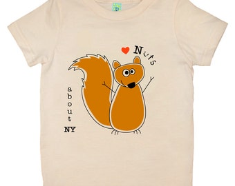 Organic cotton short sleeve children's T-shirt with screen printed squirrel design by Bugged Out, made in the USA
