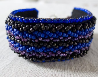 Bead Embroidered Blue and Purple Bracelet