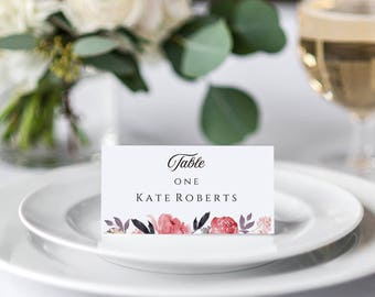 Floral Place Cards, Editable Name Cards, Rose Place Cards, Place Card Pdf, Place Card Download, Printable Place card, Place Card Templates